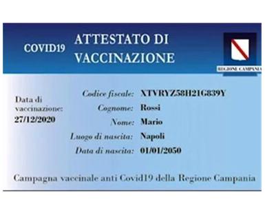 DISTRIBUZIONE SMART CARD REGIONE CAMPANIA DI AVVENUTA VACCINAZIONE